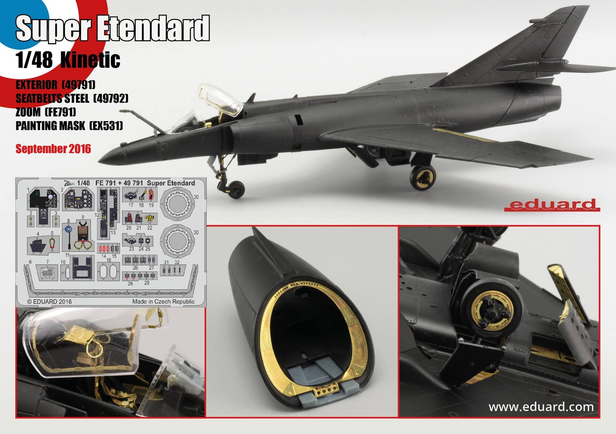 eduard 49792 1//48 Seatbelts Super Etendard Steel for Kitty Hawk Painted
