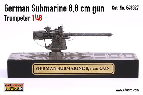 8,8 cm gun for German WW2 Type VIIc submarine in 1/48 scale
